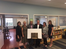 Group photo: Danielle Macdonald, Barbara Bottriell, Shad Qadri, OPL Board Chair Tim Tierney, Lesley MacKay, OPL Trustee Kathy Fisher